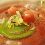 鰤のマリネとトマトのマシュマロ